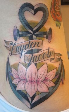 Heart Anchor Lotus Tattoo - Suzanna Fisher http://tattoosflower.com/heart-anchor-lotus-tattoo-suzanna-fisher/