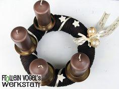 Adventskranz, 25 cm, mit Kerzen von Frollein Vogel´s Werkstatt auf DaWanda.com