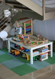 ikea lack train table | IKEA Lack coffee table turned into a train table. Would be cute as ...