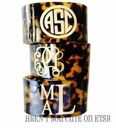 A must have for all fashionistas....monogrammed tortoise shell cuff. The versatility alone will make this piece a favorite fashion go-to. Measuring