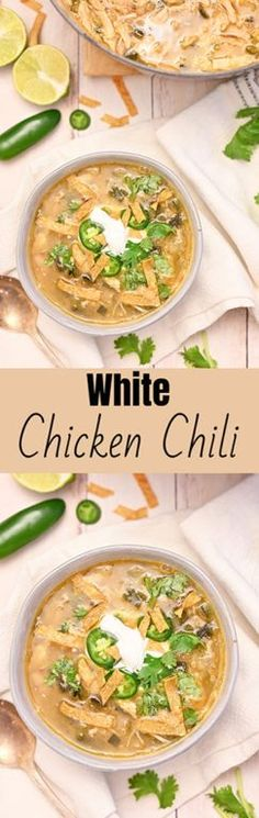 White Chicken Chili recipe flavorful blend of tender chicken, white beans and just enough spice! This is my new favorite chili recipe for a cold winter day! Best Chicken Recipes, Healthy Crockpot Recipes, Chili Recipes, Duck Recipes, Mexican Recipes, Copycat Recipes, Turkey Recipes, Chowder Recipes, Soup Recipes