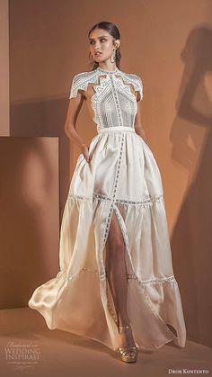 "Dror Kontento 2020 Wedding Dresses — ""Desert Spirits"" Bridal Collection featuring - dror kontento 2020 bridal short sleeves high neckline embellish lace cutout bodice slit skirt modern a line ball gown wedding dress pockets sheer back mv -- Dror Kont Dresses Short, Modest Wedding Dresses, Princess Wedding Dresses, Elegant Dresses, Bridal Dresses, Beautiful Dresses, Wedding Gowns, Sexy Dresses, Summer Dresses"