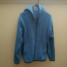 Selling this Blue, fleece zip-up with hood. Perfect for winter! in my Poshmark closet! My username is: karpediem22. #shopmycloset #poshmark #fashion #shopping #style #forsale #Q & A #Outerwear