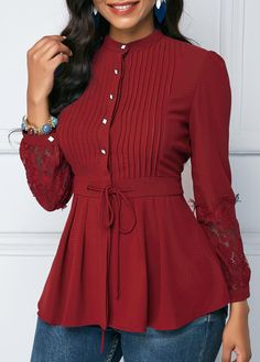 Lace Panel Crinkle Chest Wine Red Peplum Blouse | modlily.com - USD $24.10