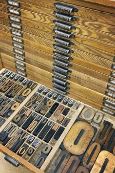 #Letterpress tray of O's.  I would love to have this old letterpress cabinet and type.