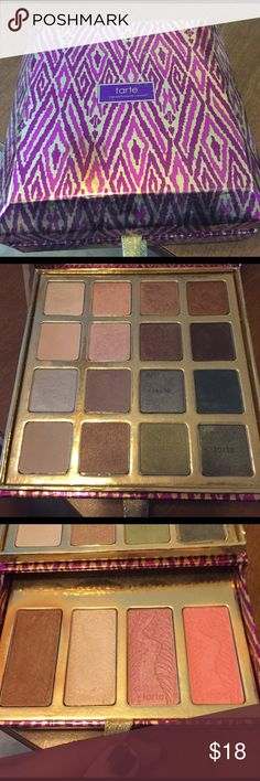 Tarte eyeshadow/blush/highlighter kit Tarte kit includes• 16 eye shadows• barely used• bronzer•highlighter• and 2 very pretty blushes. Lip glosses are not in kit. Only used a few of the eye shadows and bronzer. Makeup