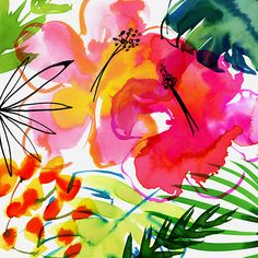 Margaret Berg Art: Jungle+Tropics+Pink+Hibiscus+
