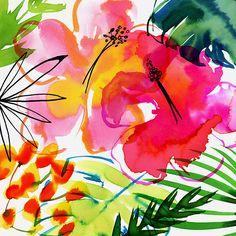 Margaret Berg Art: Jungle+Tropics+Pink+Hibiscus+