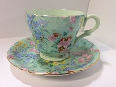 Shelley 'Melody' Chintz Bone China Demitasse Tea Cup and Saucer