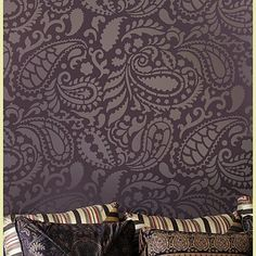 paisley stencil Would love to do this in my bathroom with some cool blues and light gray colors!