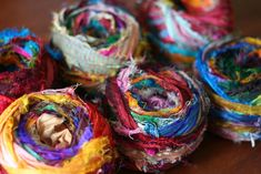 Image of Multicolored Tibet Jewels Silk Sari Strip Ribbon Yarn (Great for Bracelets!)great place to find yarn. Ribbon Yarn, Ribbon Crafts, Silk Ribbon, Ribbon Jewelry, Fabric Jewelry, Tibet, Fiber Art Jewelry, Recycling, Recycled Yarn