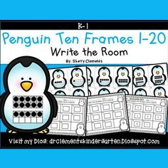 50% off for 24 hrs~(until 11:59 PM EST 02/14/17) Penguins Write the Room (Ten Frames 1-20) WinterThis resource includes four pages of numbered penguin cards in color with a total of 20 cards. Each numbered card has a ten frame(s) filled in with black dots to represent each number 1-20.