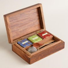 One of my favorite discoveries at WorldMarket.com: Carved Wood Chinese Tea Gift Box Set