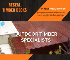 Reseal Timber Decks finds its expertise in various verticals of deck maintenance: deck restoration, deck cleaning, deck staining, deck sealing and much more. We are obliged to serve our customers with deck maintenance assistance anywhere in Melbourne and Mornington Peninsula.  Address: 8 Natasha Close, MELBOURNE VIC 3088 Phone No: 0425 850 668