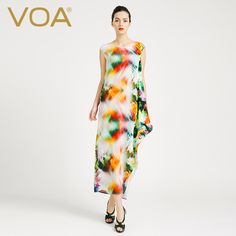 >> Click to Buy << VOA 2017 summer flower color sleeveless silk dress female fresh and comfortable irregular long dresses A6758 #Affiliate