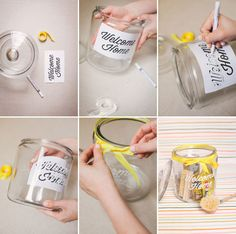 Have friends that are moving? Here is a little gift that is easy to put together and is so thoughtful. All you need is a printout and a paint pen to trace it on the jar. Then just stop by a hardware store to stock up the jar and you've got a present.