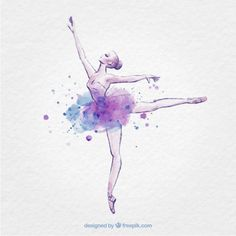 Hand drawn ballerina with ink splash Premium Vector Ballerina Drawing, Ballet Drawings, Dancing Drawings, Art Drawings, Ballet Wallpaper, Dance Vector, Ballerina Painting, Ballet Art, Ballet Dancer Tattoo