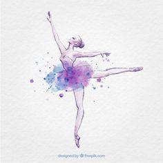 Mano bailarina dibujado con salpicaduras de tinta Vector Premium