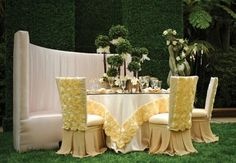 Great setting for outdoor party, Wedding Reception, event. Table Décor, Resource One Luxury Linens, Rentals Reception Decorations, Event Decor, Table Decorations, Event Ideas, Centerpieces, Party Ideas, Wedding Linens, Wedding Chairs, Wedding Dresses