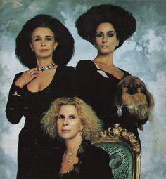 Aline Griffith Dexter, Countess of Romanones, Natividad Abascal Romero-Toro, Duchess of Feria and Cayetana Fitz-James Stuart y Silva, Duchess of Alba in the 80's.
