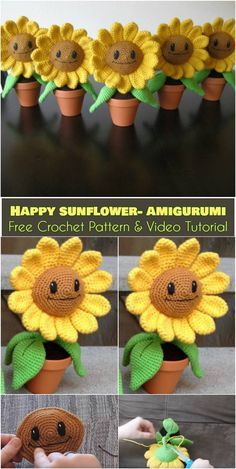Happy Sunflowers for Windowsill [Free Crochet Pattern and Video Tutorial] Amigurumi Crochet Sunflower, Crochet Cactus, Crochet Flowers, Easter Crochet Patterns, Crochet Patterns Amigurumi, Crochet Dolls, Crochet Gifts, Cute Crochet, Crochet Projects