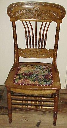 Set of 7 Oak Bent Spindle Pressback Chairs