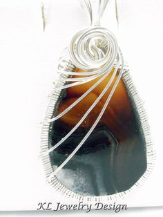 Agate Slice in Silver Pendant by KLJewelryDesign on Etsy, $23.50