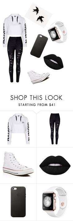 """Untitled #45"" by hannahtorres2002 ❤ liked on Polyvore featuring Topshop, WithChic, Converse and Lime Crime"