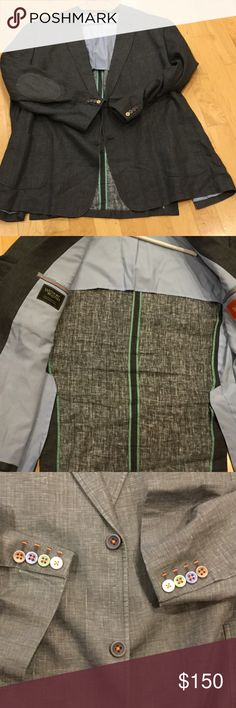 NWOT men's Tallia linen sport coat NWOT men's linen blazer purchased from Westport Big & Tall. Same color patch pockets on elbows, double vent in back, very stylish stitching and buttons! Tallia by Westport Big & Tall Suits & Blazers Sport Coats & Blazers