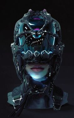 Find images and videos about art, futuristic and cyberpunk on We Heart It - the app to get lost in what you love. Cyberpunk 2077, Cyberpunk Kunst, Sci Fi Kunst, Cyberpunk Girl, Chat Steampunk, Style Steampunk, Futuristic Helmet, Futuristic Art, Arte Sci Fi