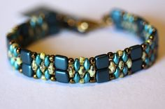 Beadweaving Bracelet,Teal Brown Beaded Cuff,Teal and Ecru Superduos, Teal Pearl Tile Beads,Jewelry, Amy Johnson Designs BF2147