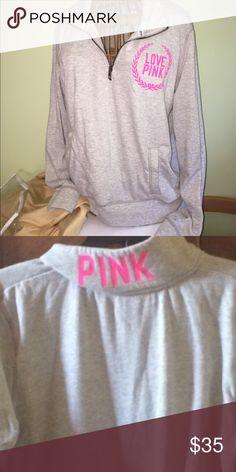 Victoria's Secret pink half zip sweatshirt large Great shape PINK Victoria's Secret Tops Sweatshirts & Hoodies