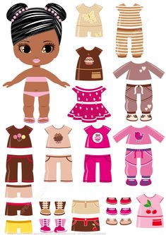 dolls dolls dolls African-Amercian Girl with a Set of Summer Clothing from Dress Up Paper Dolls category. Hundreds of free printable papercraft templates of origami, cut out paper dol Paper Dolls Clothing, Barbie Paper Dolls, Vintage Paper Dolls, Disney Paper Dolls, Fabric Dolls, Antique Dolls, Paper Doll Template, Paper Dolls Printable, Paper Templates
