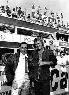Pedro Rodríguez y Steve McQueen en Le Mans 1970 Steve Mcqueen Le Mans, Jackie Stewart, Maserati, Ferrari, Grand Prix, Mazda, Steeve Mcqueen, Ricardo Rodriguez, Benz
