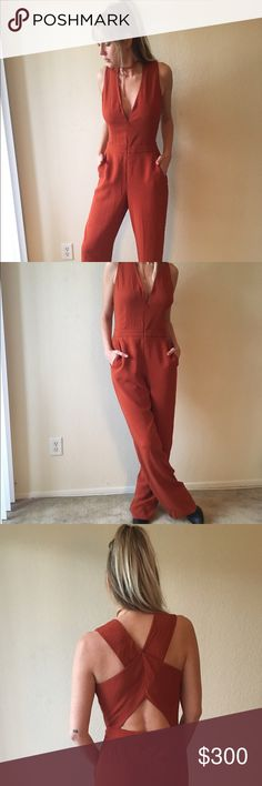 A.L.C. Luree Jumpsuit Gorgeous burnt orange color.  Deep V neckline with zipper.  Wide straps crisscross at Cutout back.  Wide legs fall from hip. Heavy crepe material, dry clean recommended.  Size: 6/8 Open to offers ❤ A.L.C. Pants Jumpsuits & Rompers