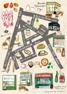 Livi gosling - map of brixton for london food essentials comic карты города Travel Maps, Travel Posters, Food Travel, Walking Map, Village Map, Map Projects, Travel Illustration, London Illustration, London Food