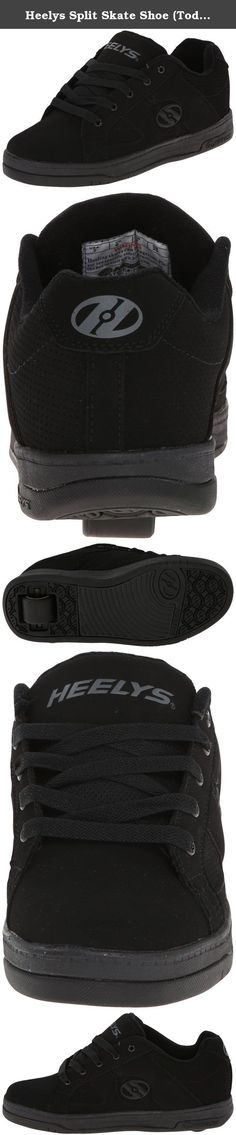 Heelys Split Skate Shoe (Toddler/Little Kid/Big Kid), Black/Black, 8 M US Big Kid. Lo-top silhouette with a wide skate body. Synthetic patent leather upper. Full lace-up closure for a snug, adjustable fit. Padded collar and tongue for added comfort and support. Heelys® logo at sides, heel, and tongue. Heelys Wave Comfort Heel Bracket provides comfort and stability. Matched molded tongue logo. Faux vulcanized cupsole with rubber outsole. Abrasion-resistant brake pad. ABEC 1 Bearings/ FATS…