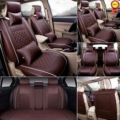 Awesome Awesome US Car 5-Seat SUV M Size PU Leather Seat Covers Coffee Front+ Rear+ Free Pillows 2017 2018