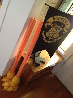"""For Quidditch Game : Idea- brooms for """"seekers"""") made out of pool noodles wrapped in fleece and tied off with yarn."""