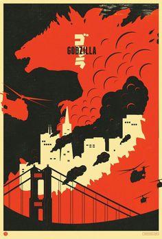 Godzilla stencil art