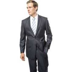 Verno Men's Dark Grey and White Textured Notch Lapel Slim Fit Two Piece Suit, Size: 44L/38W, Gray