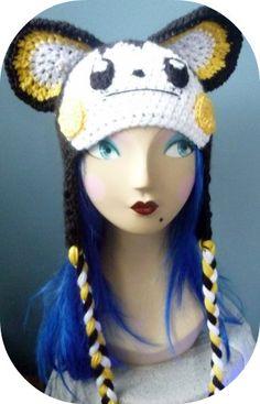 Emolga Pokemon Crochet Hat Beanie   Kawaii Crochet Crochet Game, Crochet Animal Hats, Crochet Kids Hats, Crochet Mittens, Crochet Books, Crochet Beanie, Knitted Hats, Pokemon Hat, Pikachu Pokeball
