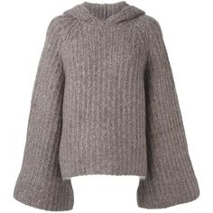 See By Chloé ribbed hooded jumper (£405) via Polyvore featuring tops, sweaters, brown sweater, bell sleeve tops, rib sweater, see by chloé and hooded top