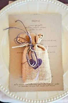 burlap wedding favor - I want the menu and wedding day programme like that Wedding Ideas Using Burlap, Burlap Wedding Favors, Seed Wedding Favors, Wedding Favor Bags, Cute Wedding Ideas, Diy Wedding, Rustic Wedding, Wedding Gifts, Dream Wedding