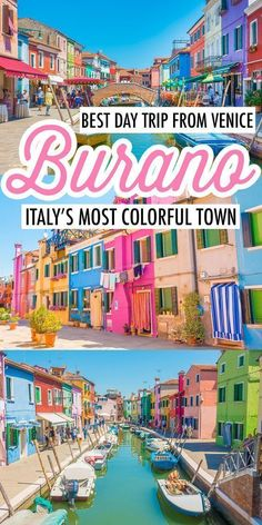 Burano Italy — How to Visit The Most Colorful Town in Europe! Burano Italy — How to Visit The Most Colorful Town in Europe!,Europe Travel Your Guide to Burano, Italy. The most colorful town in Europe! Places To Travel, Travel Destinations, Places To Visit, Holiday Destinations, Day Trips From Venice, Venice In A Day, Italy Travel Tips, Travel Europe, Backpacking Europe