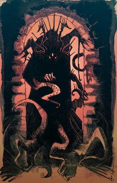 He's coming for you. by Abz-J-Harding on DeviantArt Cthulhu, Creepy Monster, Monster Art, Fantasy Kunst, Dark Fantasy Art, Illustrations, Illustration Art, Dcc Rpg, Lovecraftian Horror