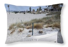 "Lost Sandal Coronado Beach Bench Throw Pillow 20"" x 14"" by Sharon French"