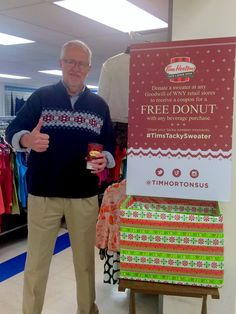Kicking off our holiday sweater promotion with @TimHortonsUS #TimsTackySweater