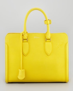 $2935.00  Finally, a tote with sections inside that is useable!  I'm so sick of open dump bags, I need organization!  I need this so bad!!  Heroine Open Tote Bag, Bright Yellow by Alexander McQueen at Neiman Marcus.
