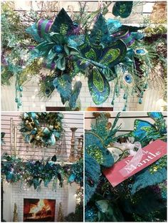 Need some inspiration for Beautiful Christmas Mantel Decor? Looking for Holiday Mantel Decorations? Peacock Christmas Tree, Turquoise Christmas, Blue Christmas, Beautiful Christmas, All Things Christmas, Victorian Christmas, Vintage Christmas, Outdoor Christmas, Handmade Christmas